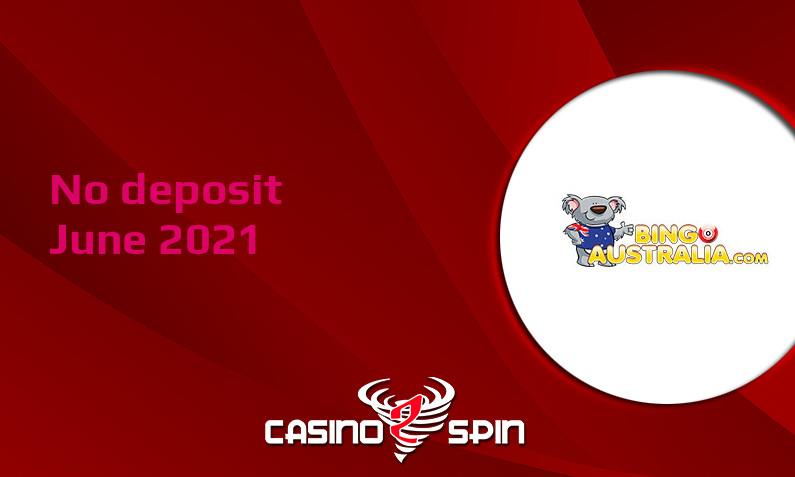 Latest Bingo Australia no deposit bonus, today 12th of June 2021