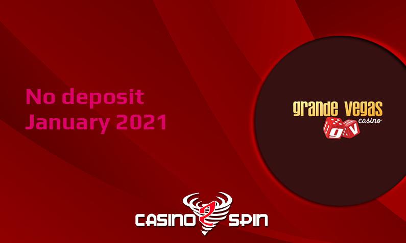 Latest Grande Vegas Casino no deposit bonus- 9th of January 2021