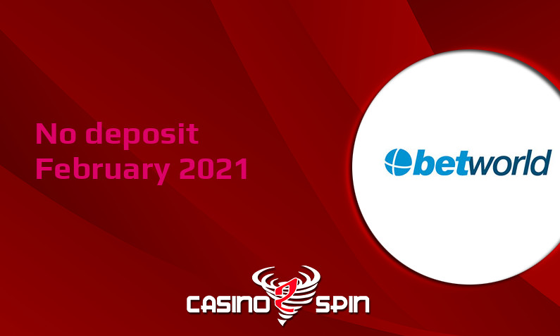 Latest no deposit bonus from Betworld 5th of February 2021