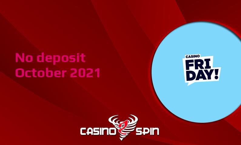 Latest no deposit bonus from CasinoFriday 6th of October 2021